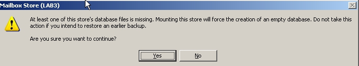 Pop-up stating you are going to mount a blank store
