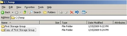 Copy the folder post restore