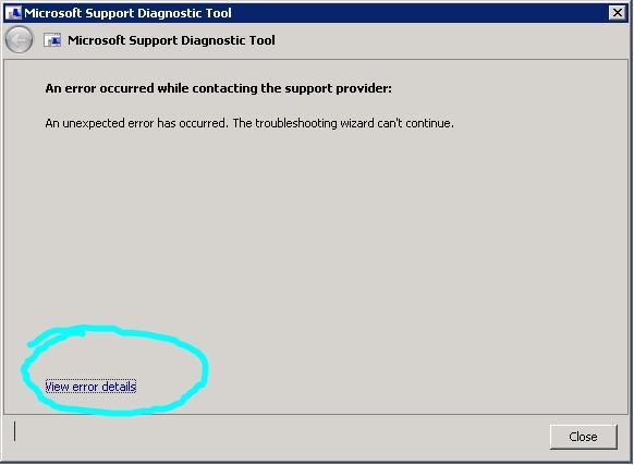 Errors in running MSDT (a k a Microsoft Support Diagonostics