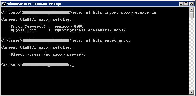 Command to enable/disable the Proxy settings