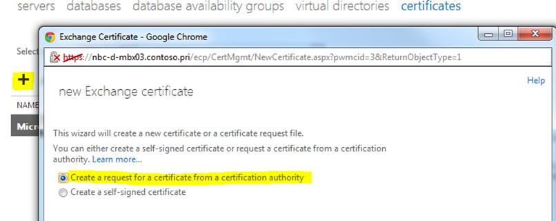 Create a new Exchange certificate on Exchange 2013 « MSExchangeGuru com