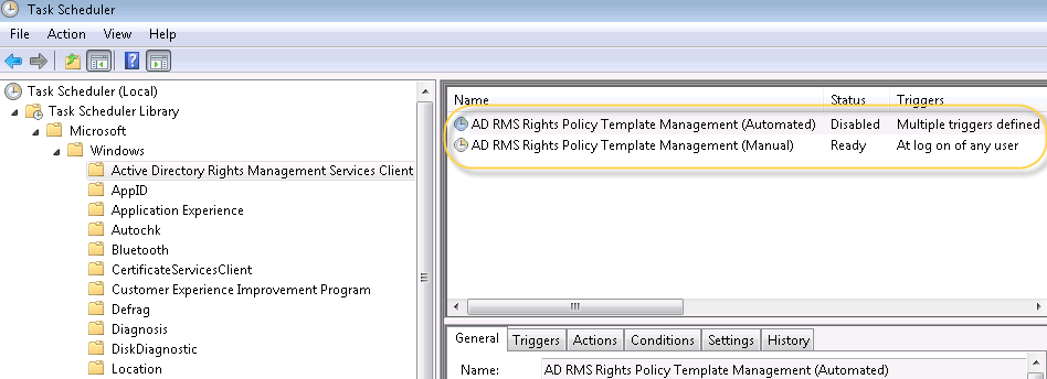 when we run ad rms rights policy template management manual it works fine and copy the templates from adrms servers