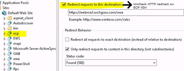 Exchange http redirect not working