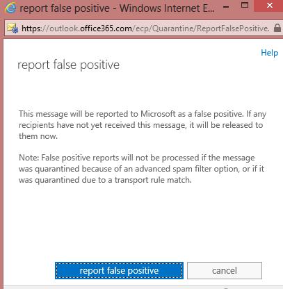 EOP / Office 365: Release a Quarantined Email « MSExchangeGuru com