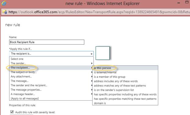 EOP / Office 365: Block Recipient email address