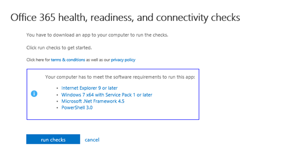 """Office 365: steps to run tool """"check your office 365 configuration."""