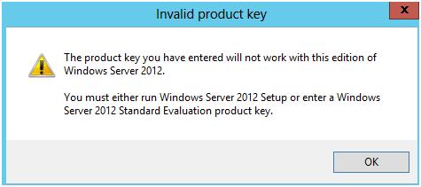 Windows 2012: Evaluation to Licensed Activation Error