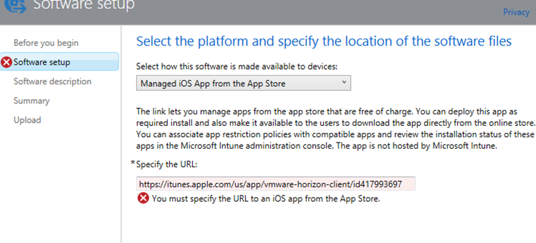 Windows Intune error: You must specify the URL to an iOS app