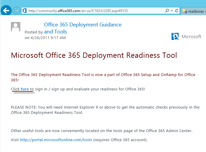 microsoft office 365 deployment readiness toolkit