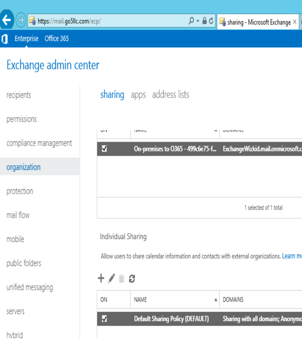 Share Calendar Outside Organization Exchange : Hybrid unable to share full details and limited