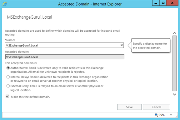 How to configure Accepted domains in Exchange 2016