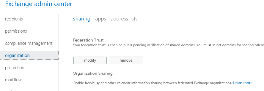 Exchange 2013/2016: Calendar Sharing between 2 Orgs