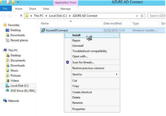 Azure AD connect Installation and Configuration