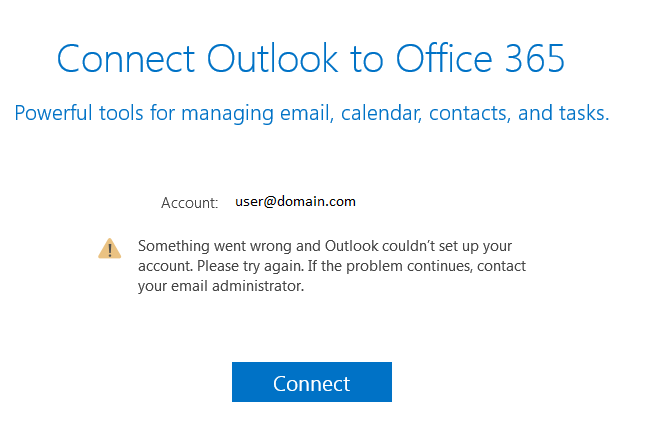 Error: Outlook couldn't setup your account  Please try again