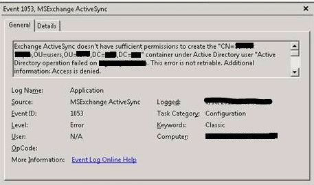 Exchange 2016 – Active Sync inheritable permissions issue