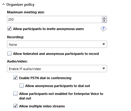 Skype for business – Create and Edit Conferencing Policy