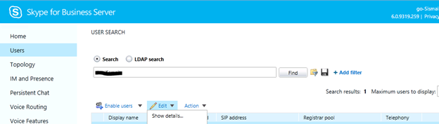 Skype for business – Enable, Disable and Edit user for Skype