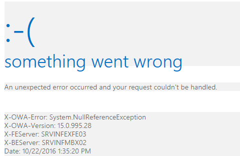 Exchange 2013 – Something went wrong error in Outlook Web